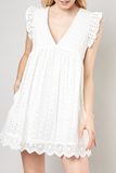 All Eyes On You Eyelet Romper With Pockets