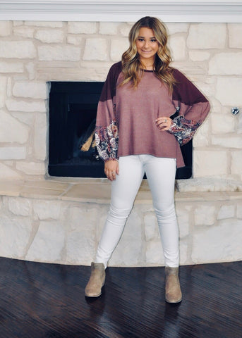 Wine And Roses Boho Top