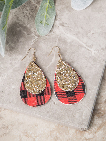 Grace Above All Buffalo Plaid Teardrop Earrings - Gold