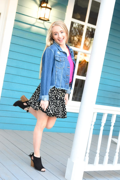 Spotted Ruffle Swing Skirt