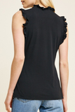 Ruffled Tank Top | Black