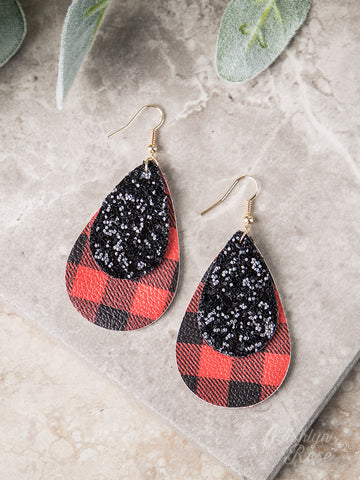 Grace Above All Buffalo Plaid Teardrop Earrings - Black