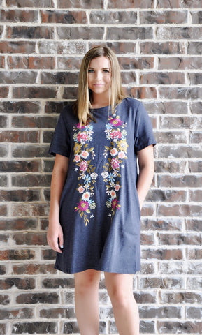 Embroidered Pocket Tee Dress