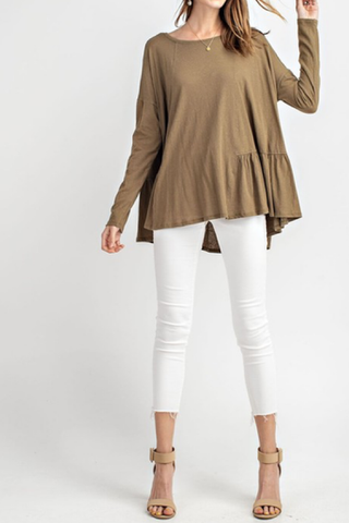 Arden Ruffle Hem Swing Top - Faded Olive