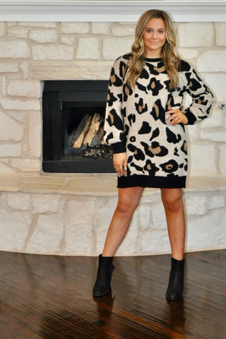 Cheetah Sweater Dress