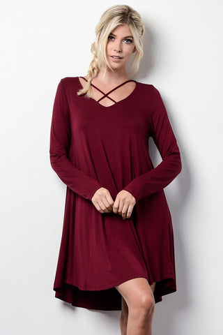 Front Cross Strap Dress - Burgundy