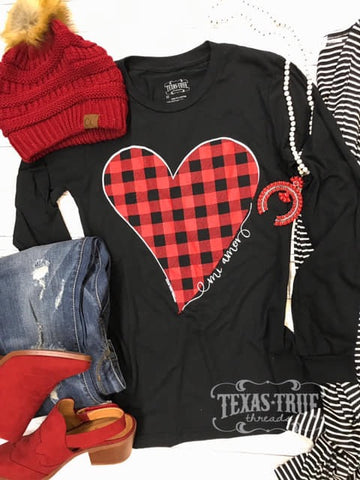 Love Makes The World Go Round Buffalo Plaid Heart Long Sleeve Top