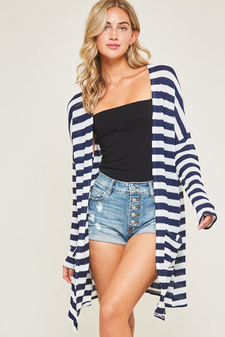 Kelli Navy Striped Cardigan