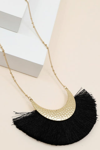 Fan Fringe Necklace - Black