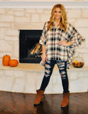 Plaid Ruffle Sleeve Tunic Top