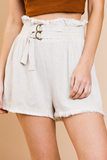 Linen High Waisted Shorts | Natural
