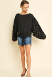 Next Level Black Top With Sheer and Frayed Puff Sleeves