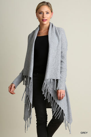 Cozy Fringe Cardigan - Grey