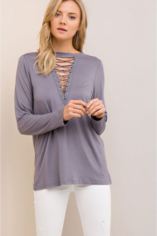 Sorry Not Sorry Long sleeve Top - charcoal