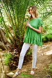 Gorgeous In Green Ruffle Sleeve Tiered Baby Doll Top