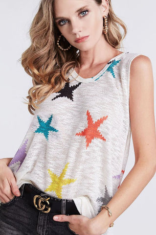 Summertime Wishes Multicolor Star Top