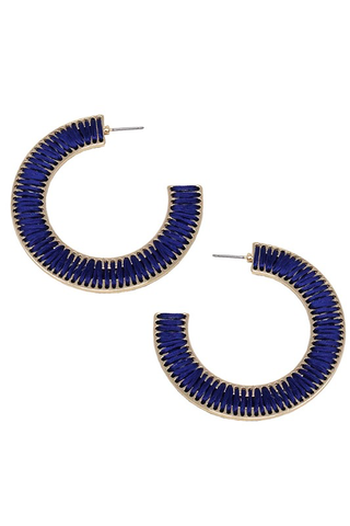 Threaded Open-Cut Hoop Earrings - Navy