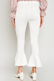 Cropped Flare Jeans - White