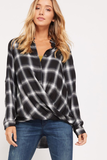Wrapped In Plaid Twist-Front Top
