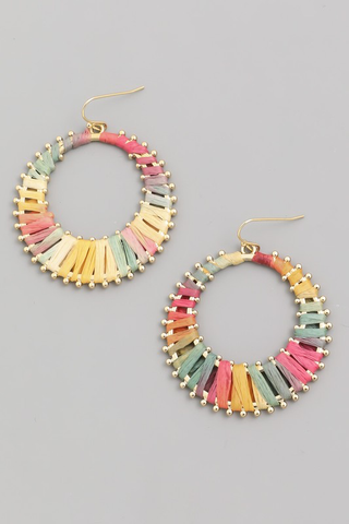 Raffia Hoop Drop Earrings - Multi