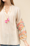 Cali Chic Embroidered Peasant Top - Natural