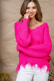 Hautie In Pink Frayed Sweater