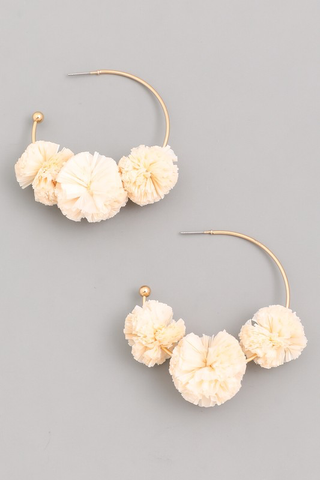 Raffia Pom Hoop Earrings - Ivory