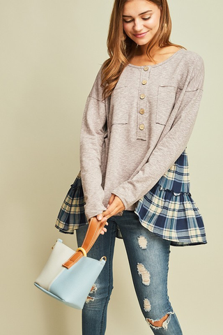Fall Is In The Air Henley and Plaid Top