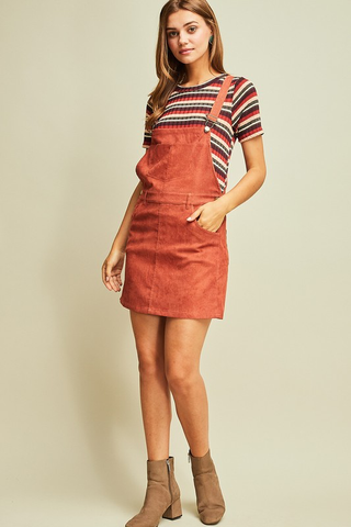 Pumpkin Spice Corduroy Overall Dress