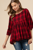 Sealed With A Kiss Plaid Babydoll Top
