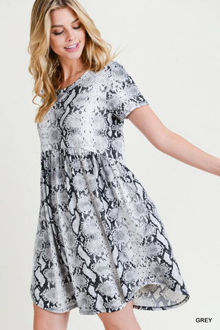 Snake Skin Print Short Sleeve Baby Doll Dress