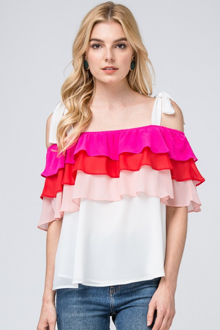 Cotton Candy Kisses Ruffle Top