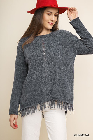 Frayed Chenille Sweater