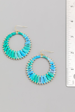 Raffia Hoop Drop Earrings - Turquoise