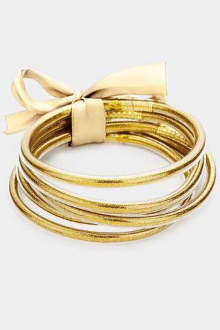 Glitter Girl Jelly Bangle Set - Gold
