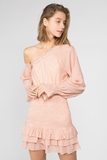 Austin Nights Smocked One shoulder Dress