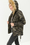 Camo Sherpa Lined Faux Fur Hooded Jacket