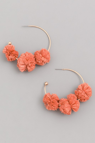 Raffia Pom Hoop Earrings - Rust