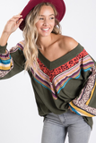 All The Love Multi Pattern V-Neck Top