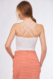 Criss Cross Padded Tank Top - White
