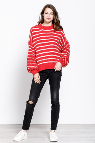 Love and Merry Red And White Striped Sweater