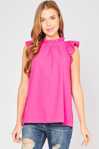 Pretty In Pink Mock Neck Ruffle Sleeve Top