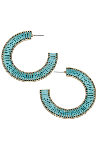 Threaded Open-Cut Hoop Earrings - Turquoise