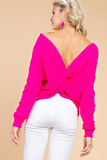 Haute Pink Twist Front Or Back Sweater