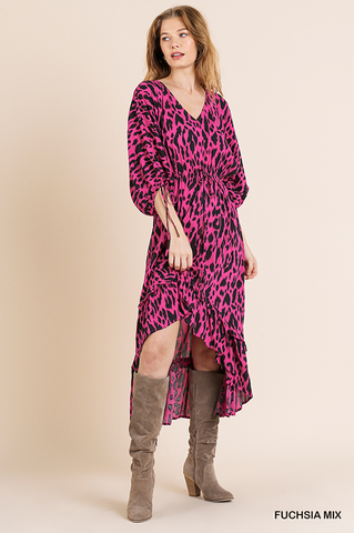 Animal Print Midi High-Low Ruffle Hem Dress