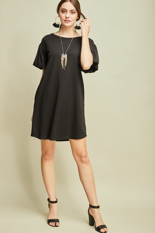 Bubble Sleeve Dress - Black