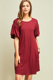Bubble Sleeve Dress - Wine