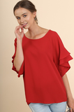 Nancy Layered Ruffled Sleeve Top - Red