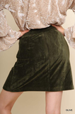Corduroy Button Front Skirt
