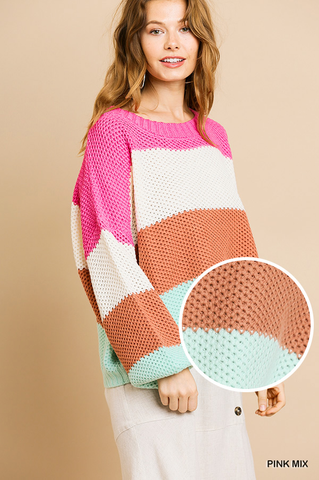 Spun Sugar Color Block Sweater